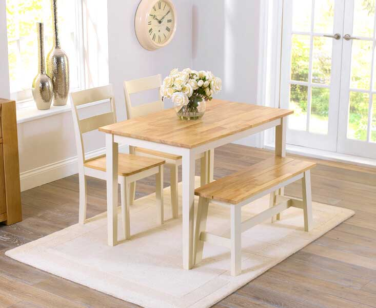 Xlg Chiltern Oak Cream Dining Table